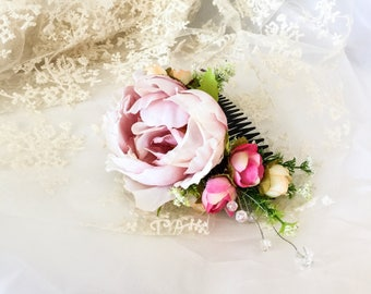 Bridal headpiece, Flower comb, bridal headdress, bridal flower comb, flower headpiece, Pink flowers comb,
