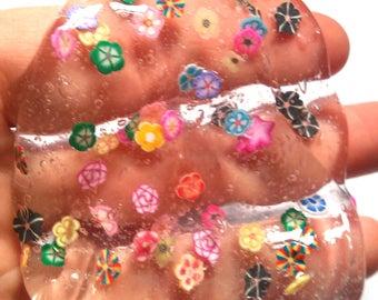 Clear Slime rainbow glitter slime flower slice B fimo clear glitter slime confetti slimes party favor birthday gift rainbow floral flowers