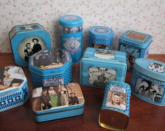 10 Vintage Dutch Tins Turquoise Blue Assorted Shapes Sizes Ages Instant Collection Zeeuwse Babbelaars Butterscotch Candy Canister Container