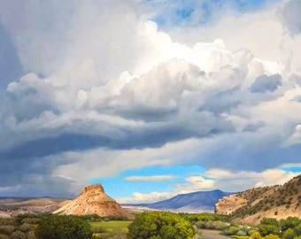 The Southwest Landscape, Abiquiu 'Chama River Clouds' Oil Painting by Jurgen Wilms, 8x10 inches, Stormy Clouds, Archival Print