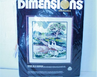 Dimensions Needlepoint Kit #2324 Geese In A Garden Vintage 1987 Partially opened