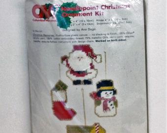 Columbia Minerva Christmas Ornament kit 8304 Christmas Memories Needlepoint Santa, Stocking, Snowman, House Vintage 1979