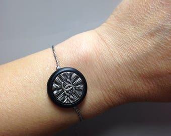 Hypoallergenic metal bracelet with authentic designer button,handmade