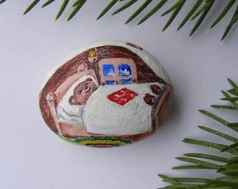 Painted Stone  teddy bear is sweetly asleep Painted Rock Christmas painted stones teddy bear Painted