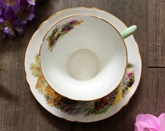 Vintage Shelley Fine Bone China Heather Tea Cup and Saucer.  Made in England