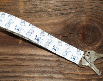 Key Fob - Blue and White Horse and Rider Quilted Wristlet