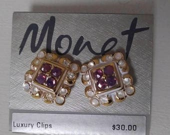 """On Sale, Monet Luxury Clips, Clip On Earrings, Gold Tone, Faux Amesthyst, 3/4"""" x 3/4"""", New on Card, Vintage Earrings, Vintage and NEW"""