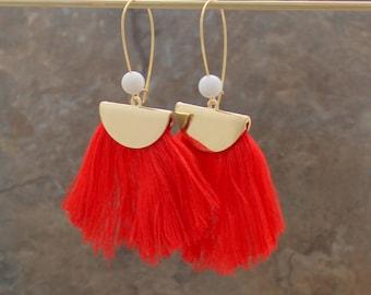 Fringe Earrings - Orange Tassel Earrings - Boho Earrings - Pink Earrings - Fan Earrings - Half Circle Earrings, Convertible Earrings. Beaded