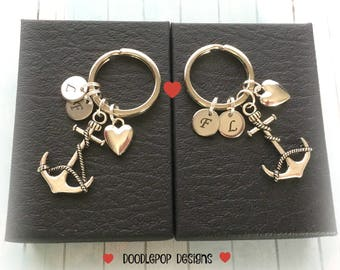 Personalised Engagement gift - Couple anchor keychains - Wedding gift - Valentine's Day gift - Heart keyrings - Personalised couple gift