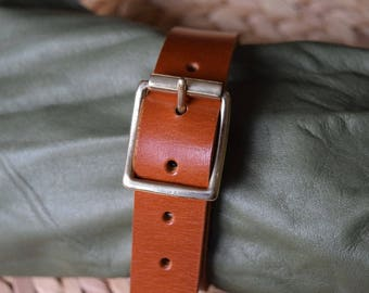 """Utility Strap Full Grain Leather 19mm (3/4"""") wide heavy duty brass buckle luggage surplus military multi-purpose camping tightening TAN"""
