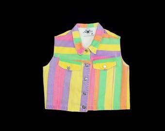 Vintage Colorful Denim Vest