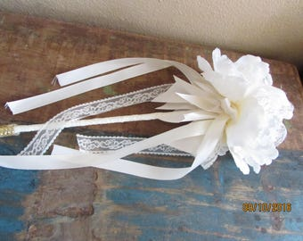 Fairy wands vintage white cream wedding wands flower girl basket alternative