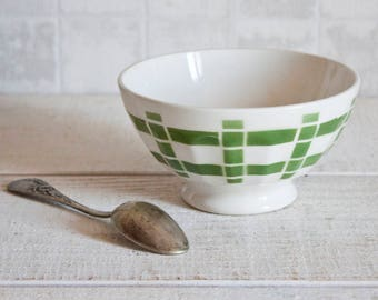 """Vintage French Café Au Lait Bowl DIGOIN Green """"Torchon"""" Pattern - French Breakfast Bowl - Shabby Chic - Rustic & Country Style"""