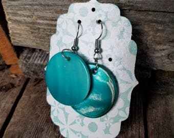 Teal round earrings