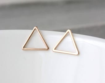 Gold plated triangle earrings - Rosé gold