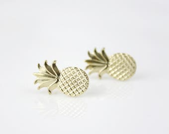 Pineapple brass earrings B66