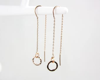 Rose gold hammered circle threader earrings earrings G23