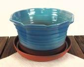 planter flower pot blue p...