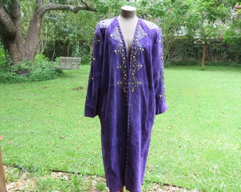 Vintage Purple Suede with Gold Studs/leather Atlantic Beach Leather Coat Works  Long Coat- Size 2X