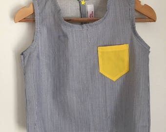 MARCEL lemon tank top small Pinstripe Pocket lemon.