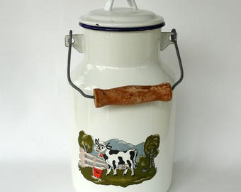 Antique White Enamel Milk Churn, French Milk Can, White Enamelware, Enamel Vase, Cow Kitchen Decor, Milk Pail, Kitchen Storage, Cookie Jar