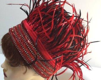 Vintage Donna Vinci Feather Hat / Festival Hat / Formal Couture Hat / Avante Garde Hat / Red & Black Feather Hat