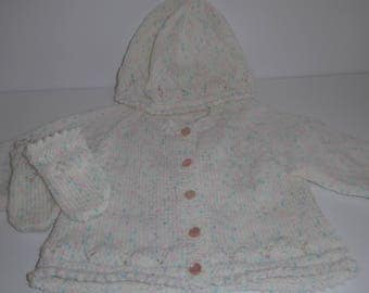 A very sweet three piece hand-knitted Cardigan, Bonnet & Mittens Baby set.  Perfect for a newborn baby.