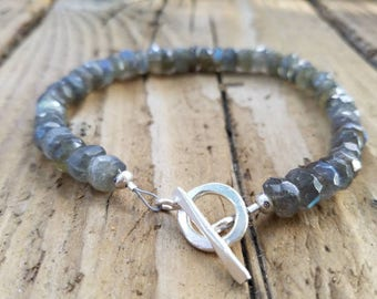 Labradorite Bracelet and Hill Tribe Silver, Artisan Style, Blue Flash Labradorite, Stacking Bracelet, AAA Labradorite
