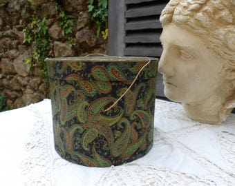 Antique french round gilded paper box. Black and green antique paisley paper box. Scarf box. Small hat box. Shabby chic storage box.