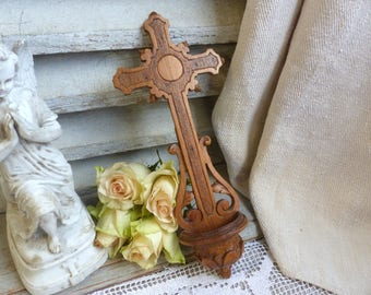 Antique french hand carved wood holy water font. Antique crucifix. Early 1900s. Christian home decor. Sculpted wood holy water font