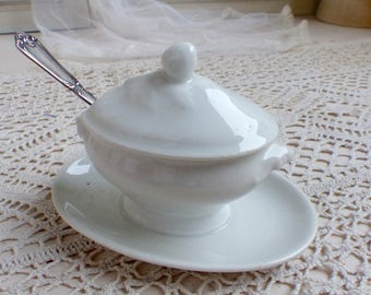 Antique french Paris porcelain mustard pot with silver plated mustard spoon. Table top mustard tureen with silver serving spoon.