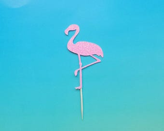 Flamingo cupcake toppers -set of 12-glitter-birthday-wedding-baby shower-bridal shower-summer party-bachelorette