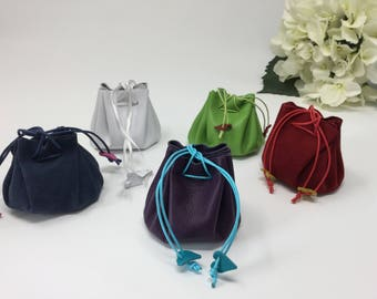 Jewellery Drawstring  Pouch, Jewellery Storage or Travel and Carrying Pouch made from Nappa Leather.  Also known as a Medicine Pouch.