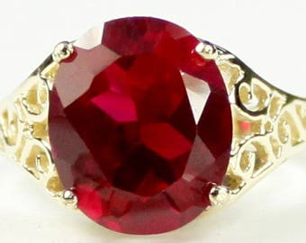 Created Ruby, 14KY Gold Ring, R057