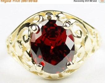 On Sale, 30%Off, Garnet CZ, 18KY Gold Ring, R004