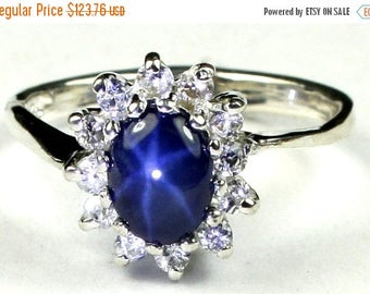 On Sale, 20% Off, Blue Star Sapphire, 925 Sterling Silver Ring, SR235