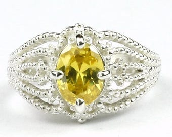 On Sale, 30% Off, Golden Yellow CZ, 925 Sterling Silver Ladies Ring, SR365
