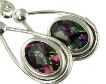 Mystic Topaz Earrings In Sterling Silver Post Mystic Fire