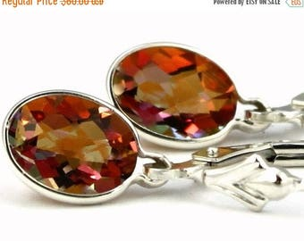 On Sale, 30% Off, Twilight Fire Topaz, 925 Sterling Silver Leverback Earrings, SE001