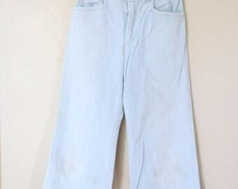 vintage high rise waist wide leg cropped denim mom jeans 26