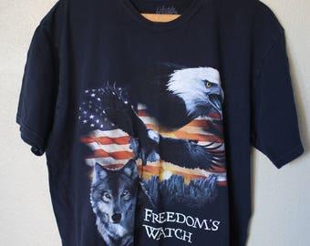 vintage eagle wolf american flag freedom watch black t shirt *