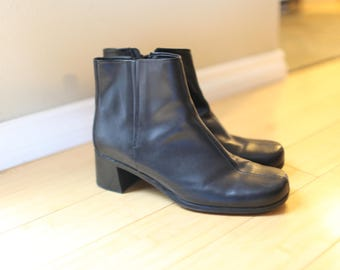 vintage black leather oxfords ankle boots slip on womens 11