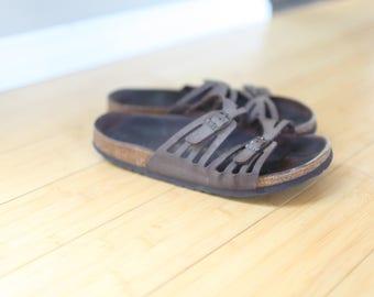 vintage woven brown leather birkinstock sandals womens 9 1/2 41