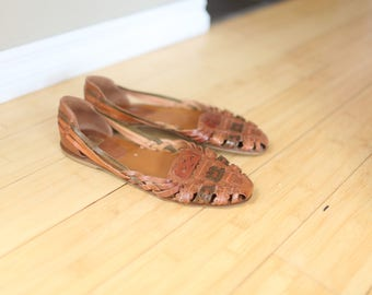 vintage woven brown leather hurache sandals womens 9 1/2