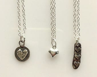 Little Sterling Silver Heart Necklaces - Valentine's Day Heart Necklace - Minimalist Hearts - Bar Heart