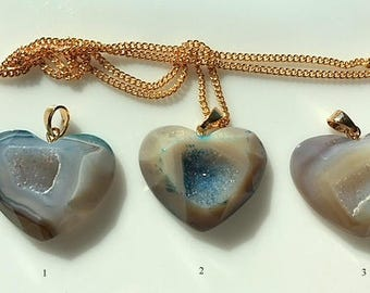 Beige and Blue Agate Crystal Druzy Geode Heart Pendants/Necklaces -Hand Cut and Faceted