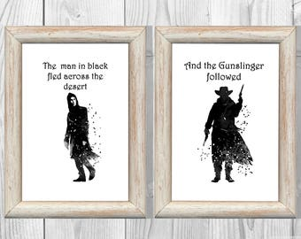 The Gunslinger Print The Dark Tower Stephen King Quote Print Watercolor Black-white Poster Art Giclee Wall Decor Instant Digital Download