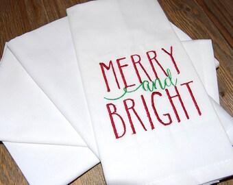 Christmas Napkins, Cloth Napkins, Holiday Napkins, Linen Napkins, Embroidered Napkins, Set of 4, Hostess Gift, Table Linens, White Napkins