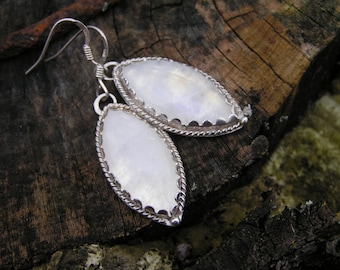 Moonstone Sterling Silver Earrings with Natural Moonstone