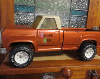 """Tonka Truck Antique Toy Truck  //  """"Western Auto"""" on the Door  //  Vintage Metal Toy Pickup Truck  //  Heavy  //  Large Wheels"""